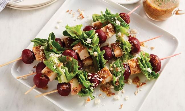 Ruby Beet Chicken Salad Skewers