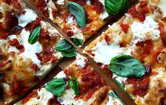Oven-Roasted Tomato-and-Garlic Pizza with Burrata