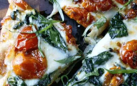 Garlic Roasted Tomatoes and Spinach Flatbread