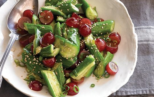 Smashed Cucumber and Grape Salad