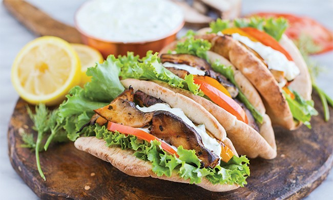 Grilled Portobello Gyros with Yogurt