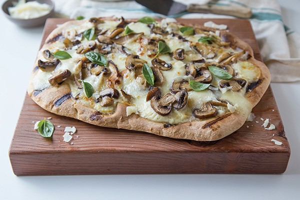 Three Mushroom and Garlic Grilled Pizza