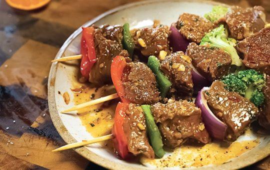 Harissa Glazed Beef Kebabs with Orange Ice Cream